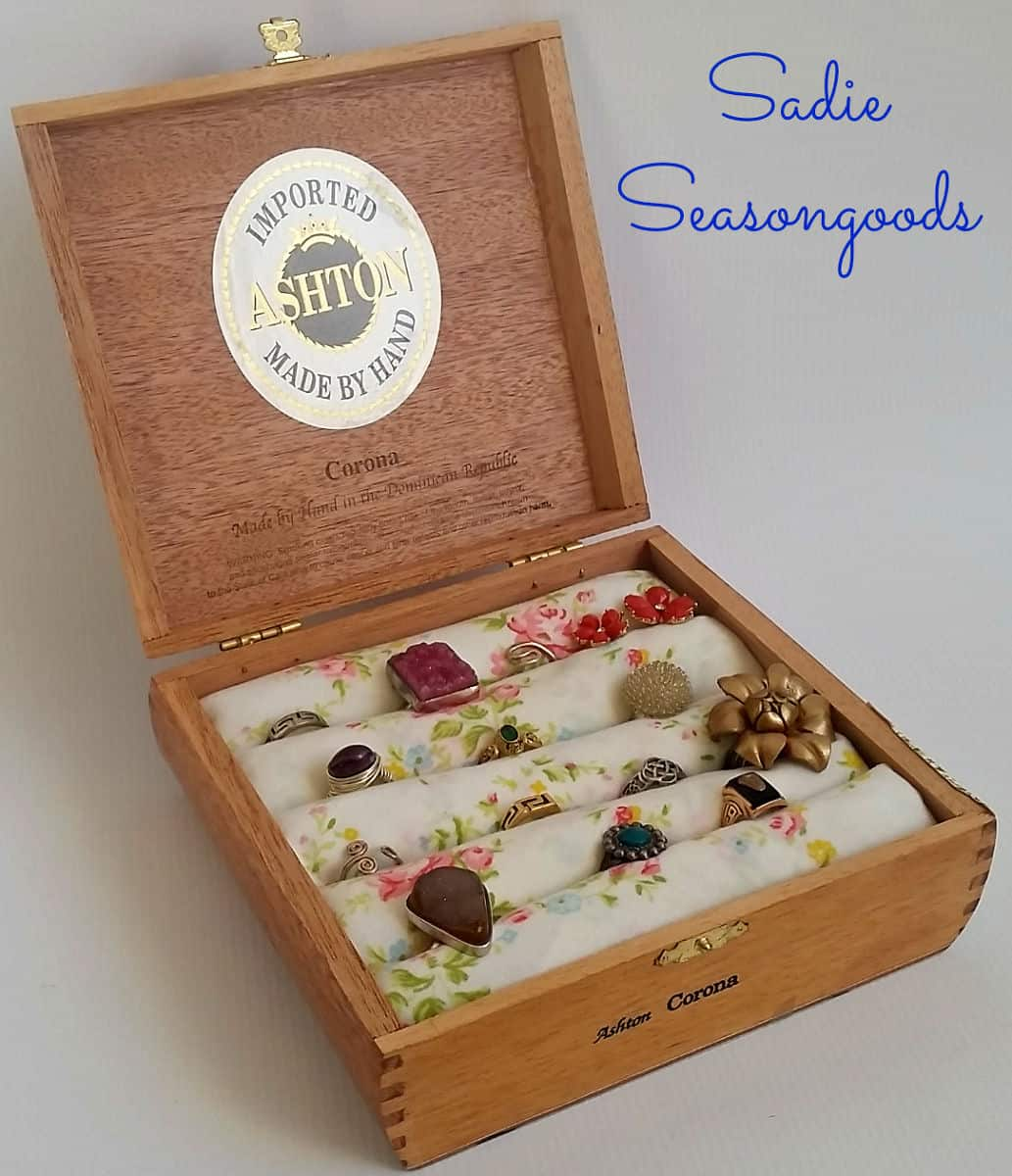Cigar box to satin filled ring box