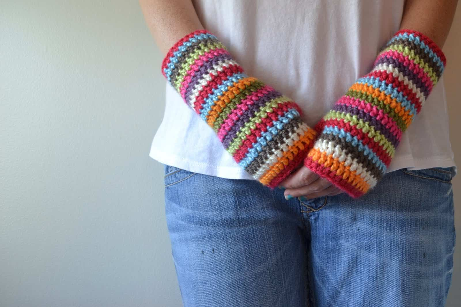 Colour stripey fingerless mitts