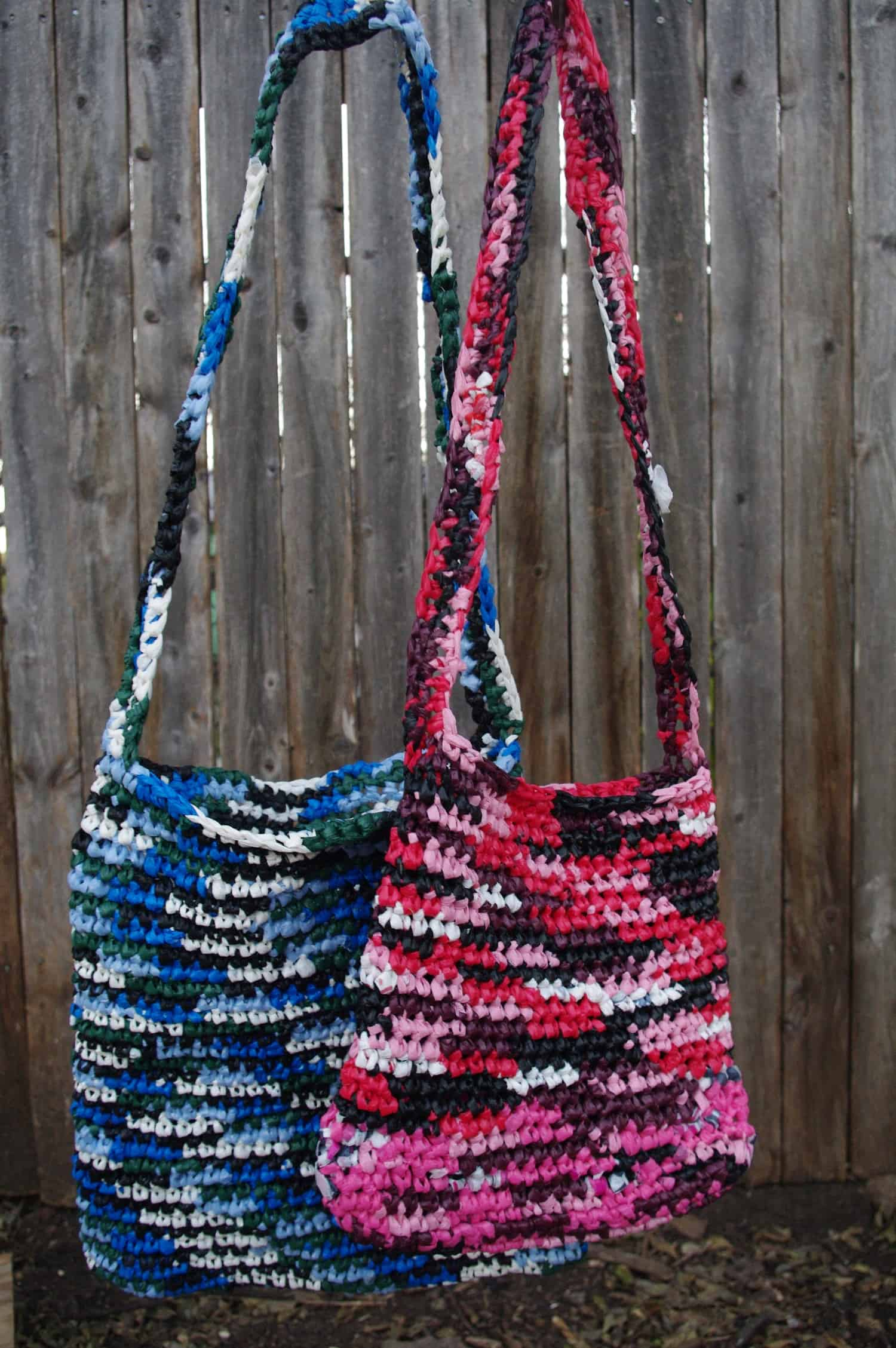 Crocheted plastic bag purses