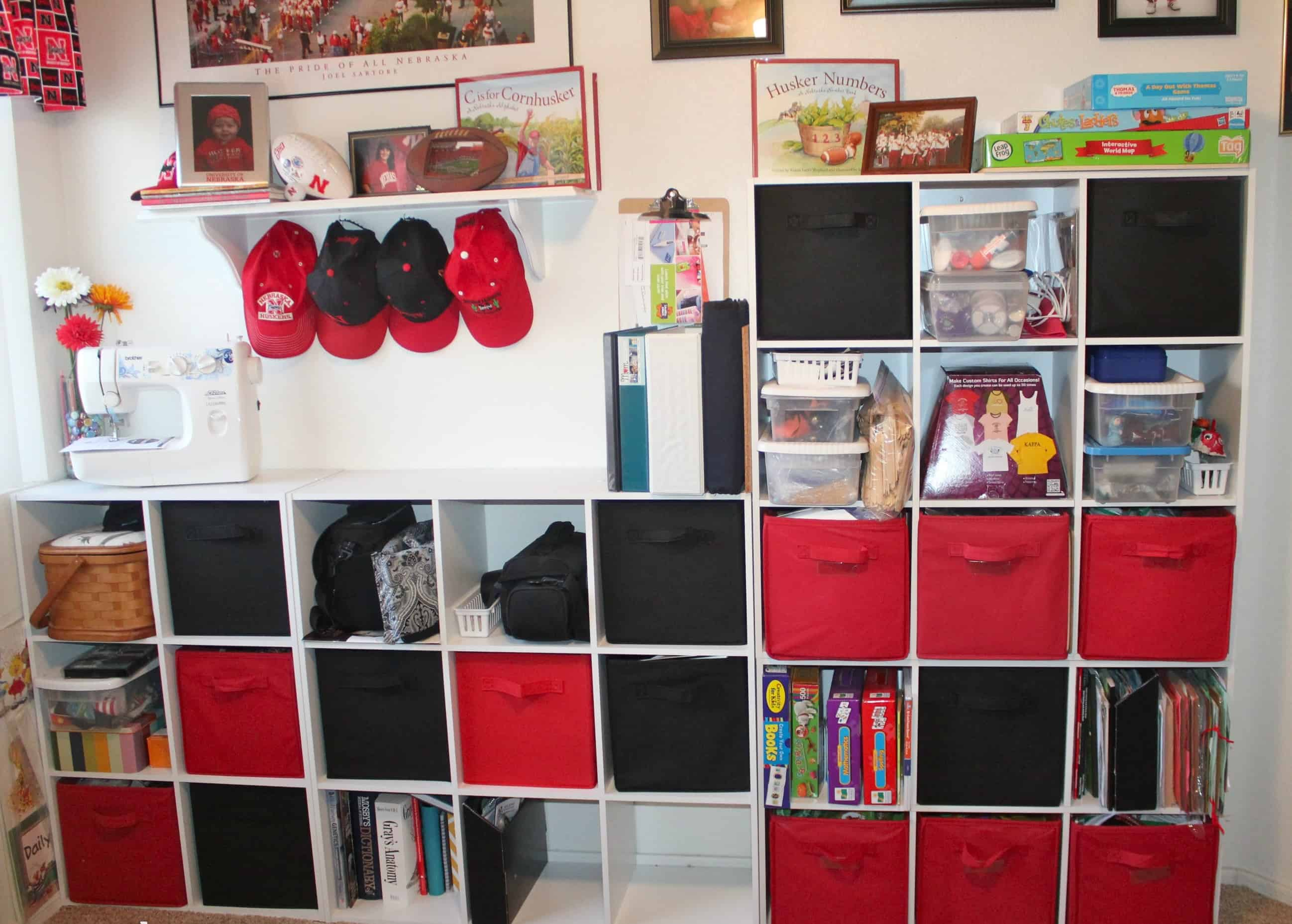 Cubby shelving with insert drawers