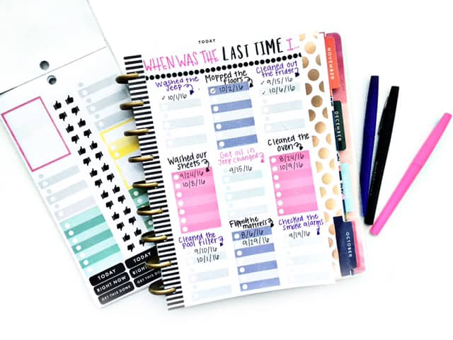 Diy cleaning chart for planner