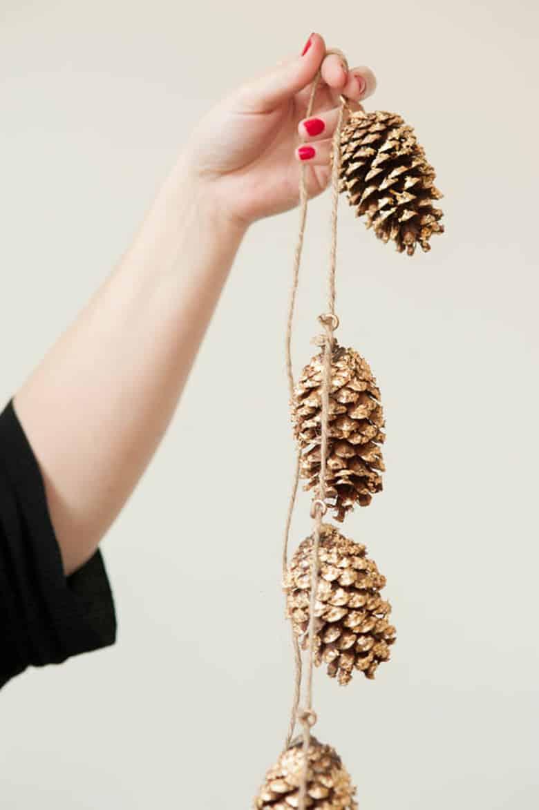 Diy gold leafed pine cones