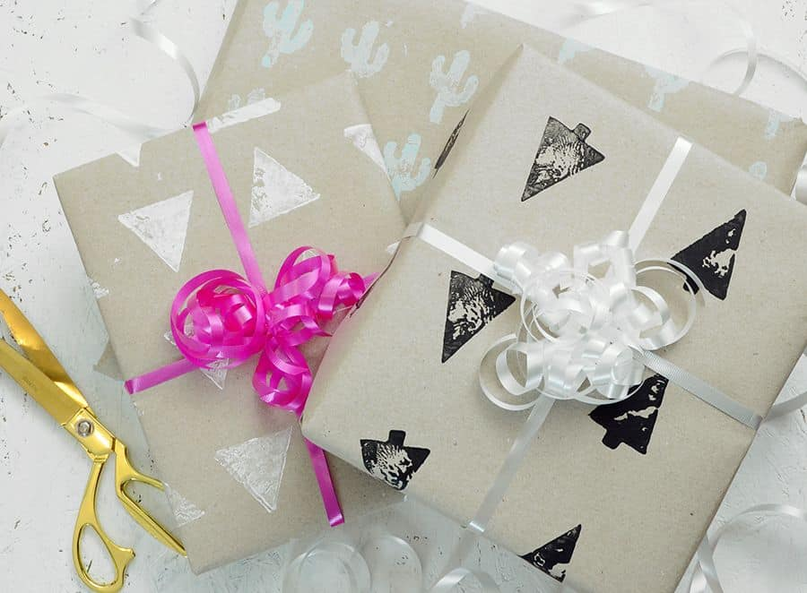 Diy hand stamped gift wrap
