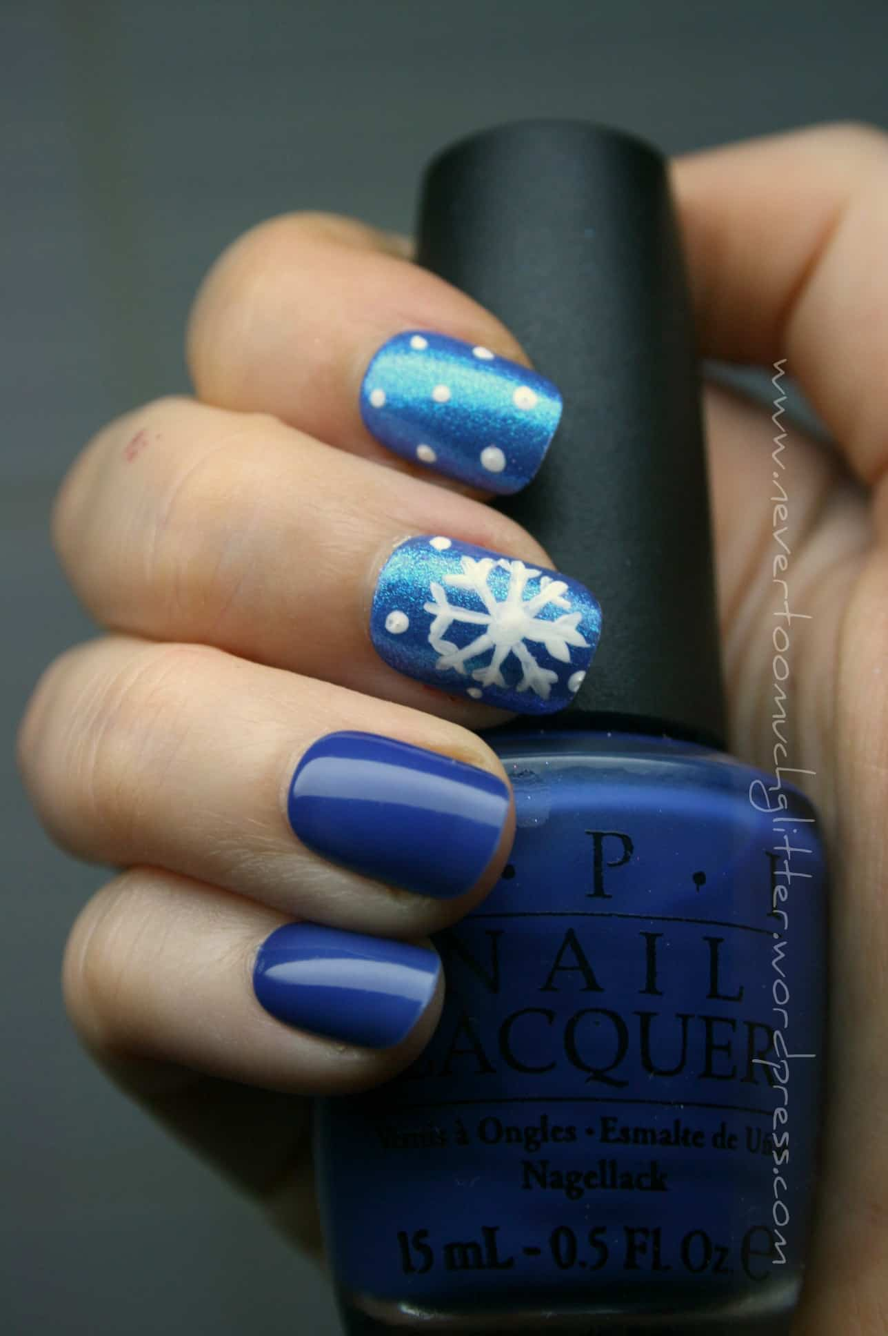 Deep blue with white dots and snowflakes