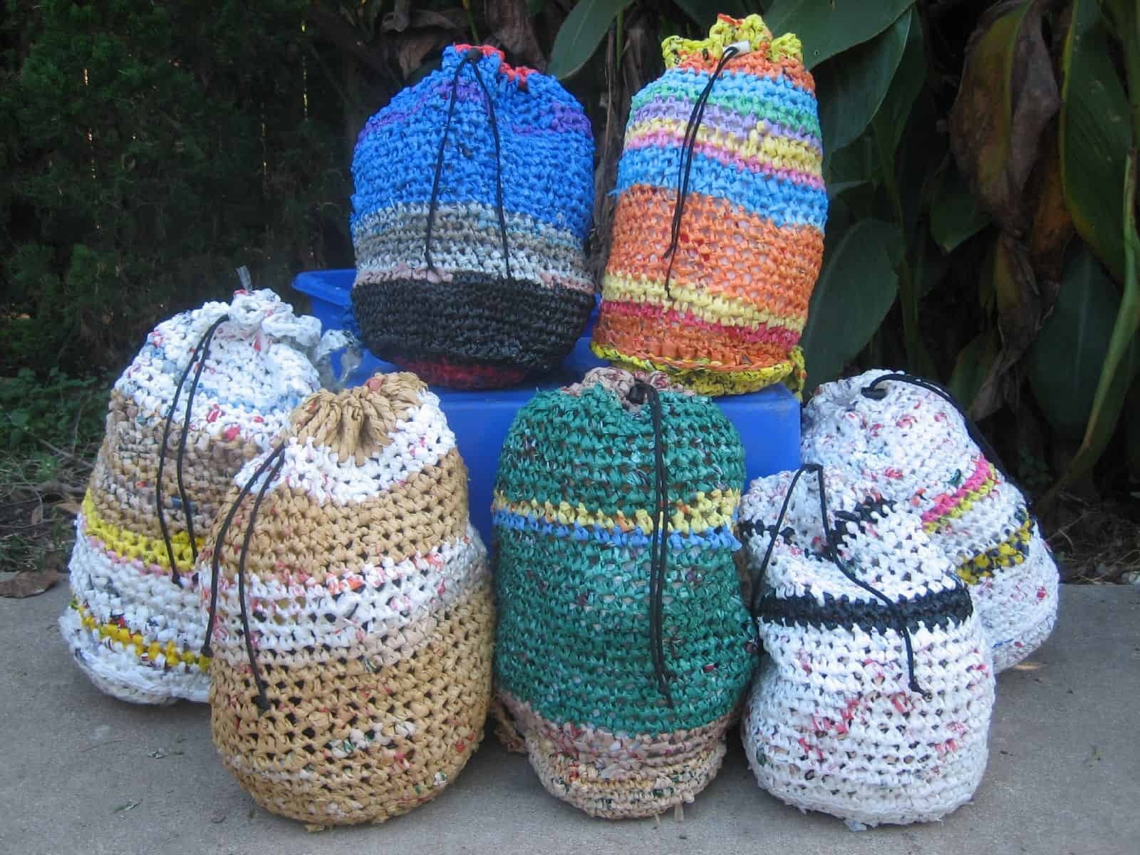 Drawstring top plarn bags