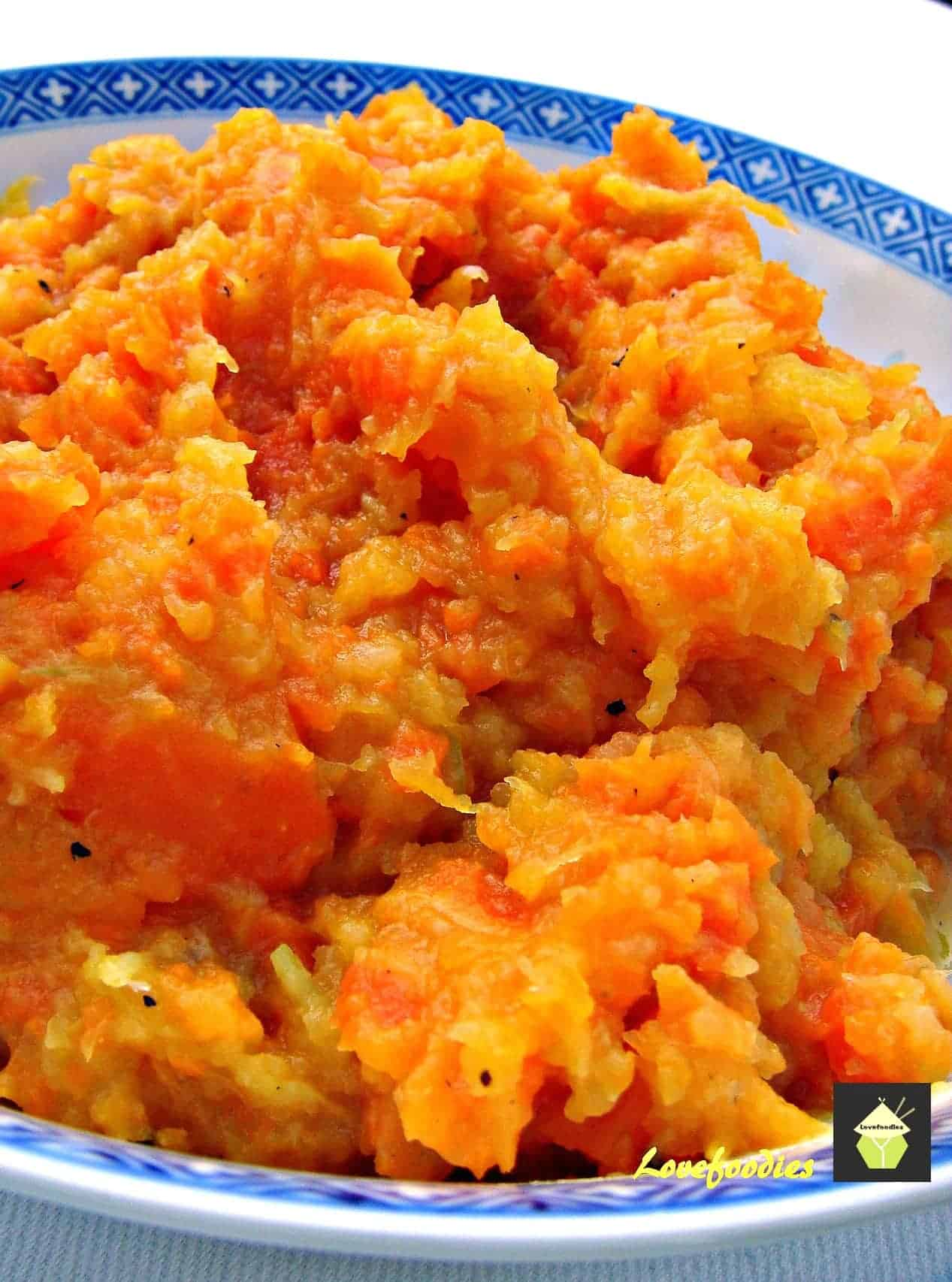 Easy carrot and butternut squash mash