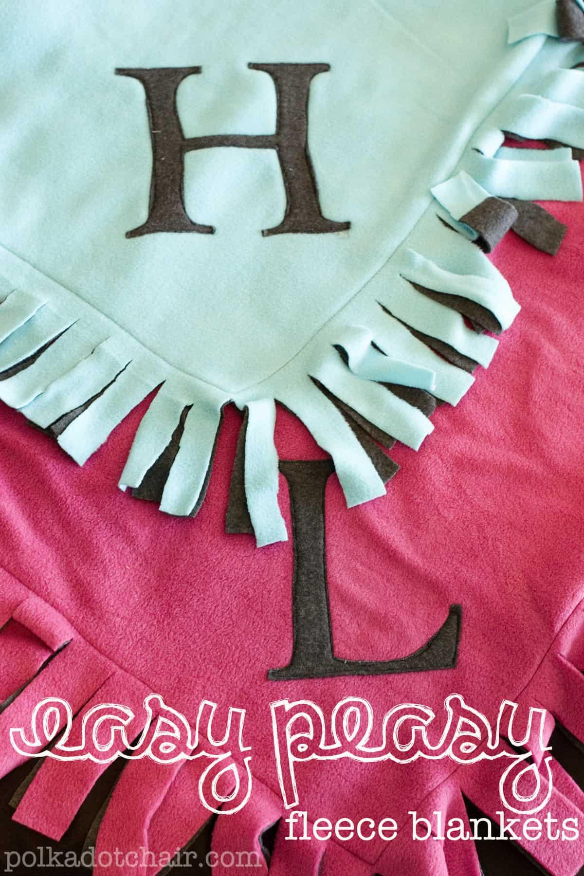 Easy knotted monogram fleece blankets
