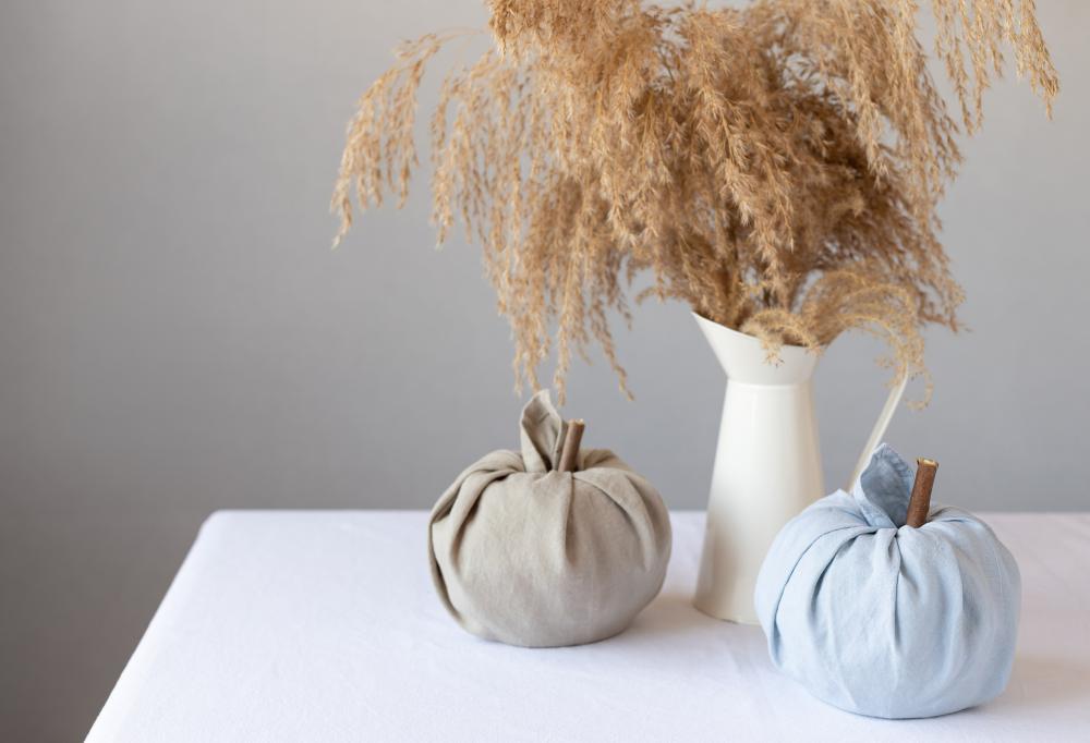 Fabric pumpkin decoration diy thanksgiving crafts