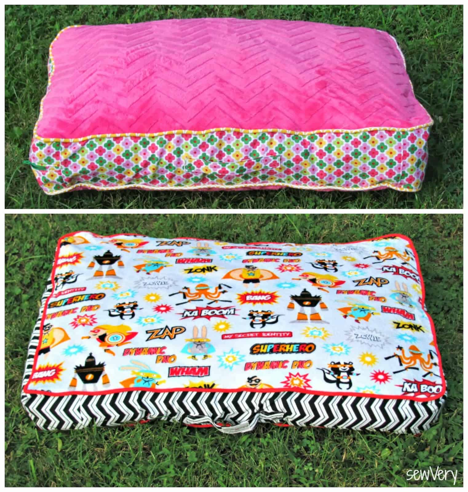 Floor pillow and matching blanket tutorial
