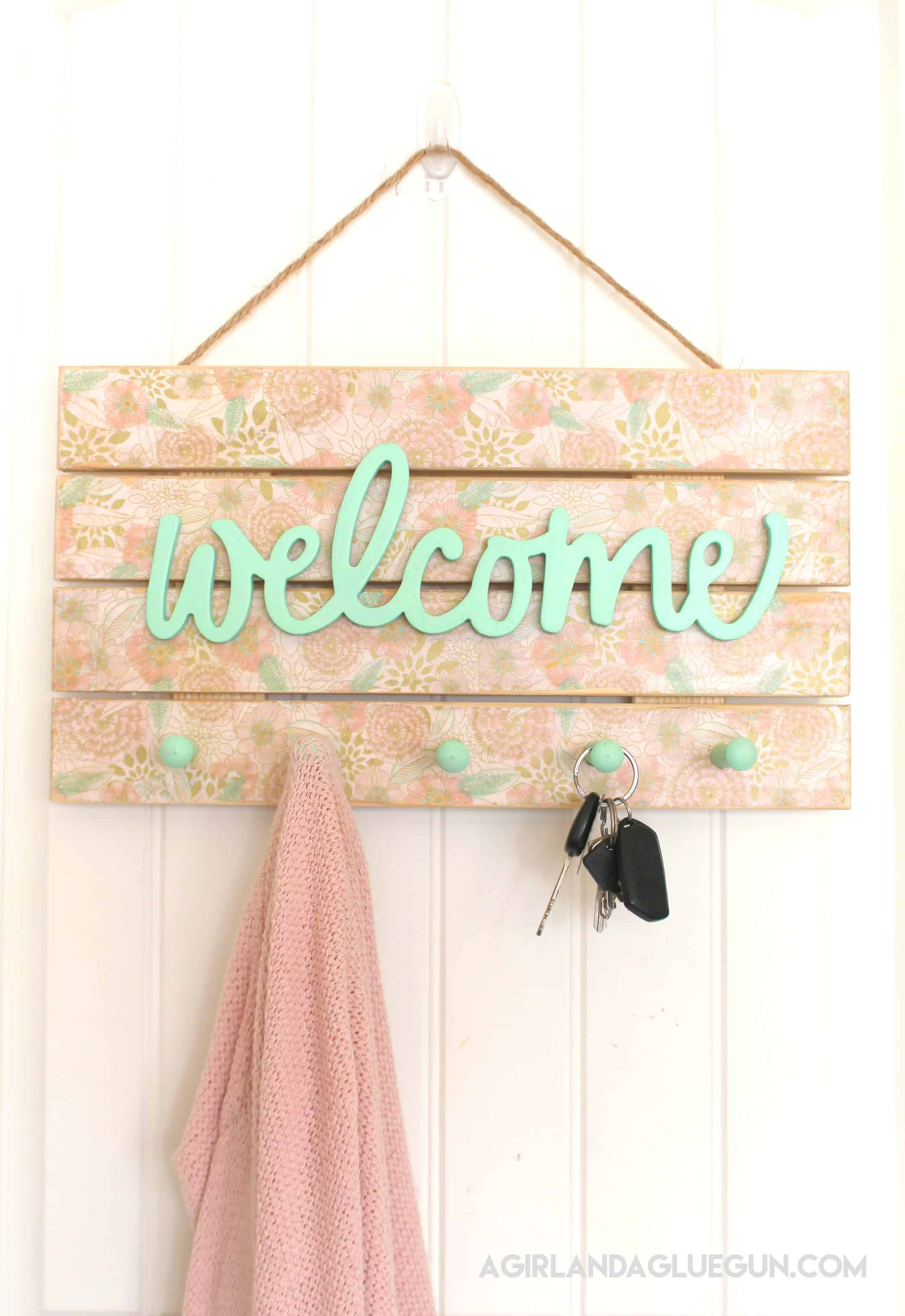 Floral welcome coat rack