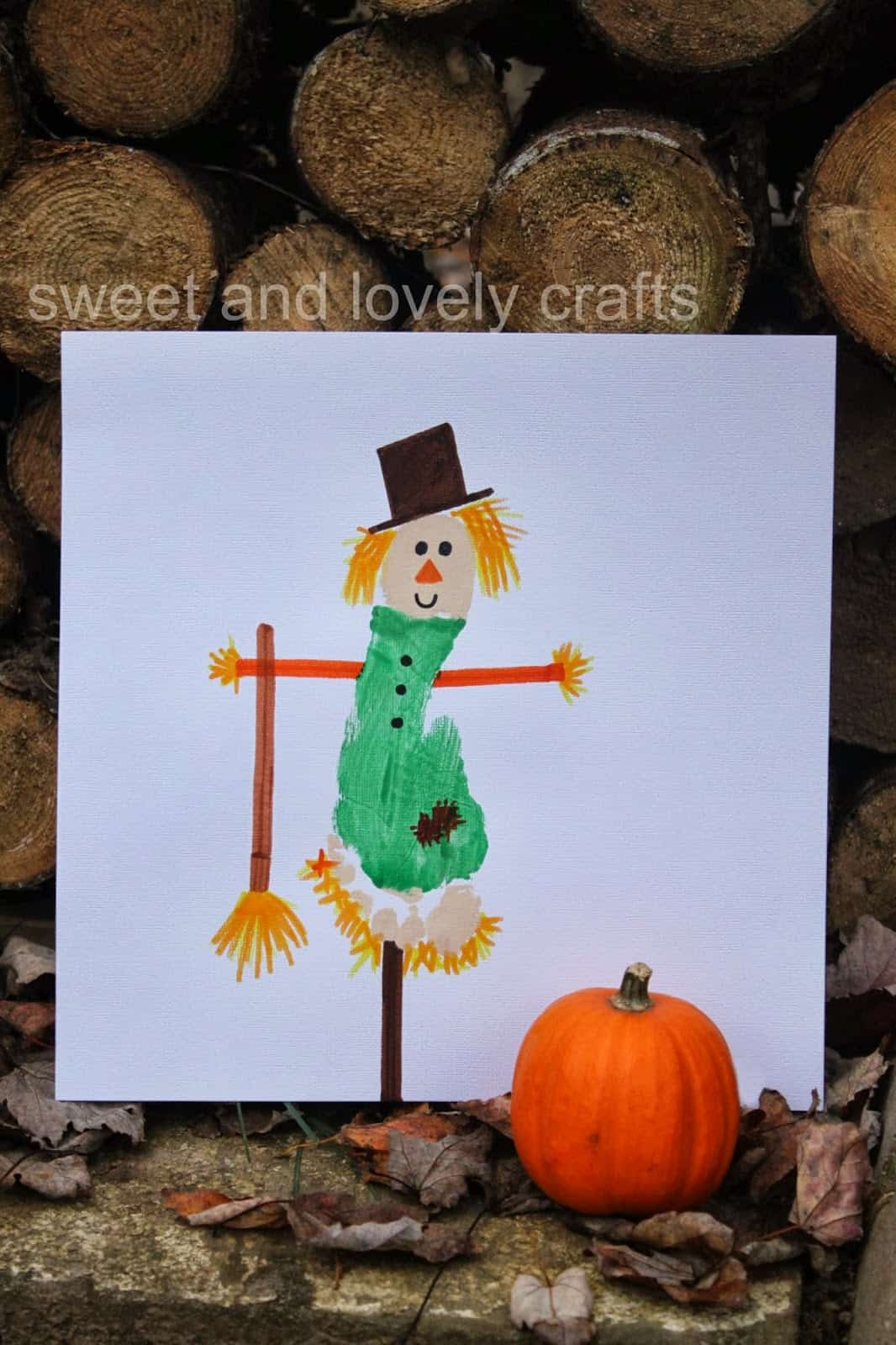 Footprint scarecrow painting
