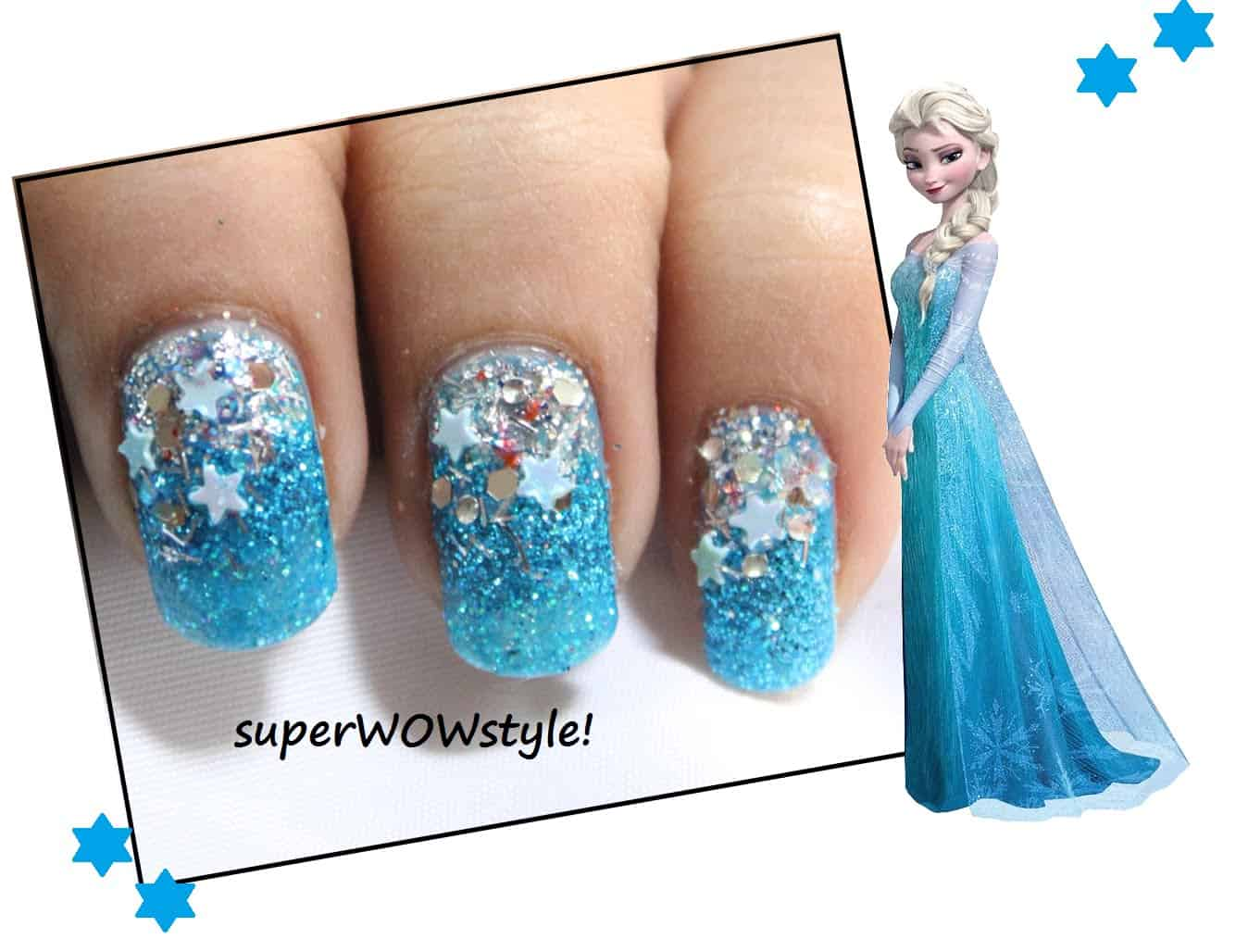 Frozen inspired winter sparkle nails