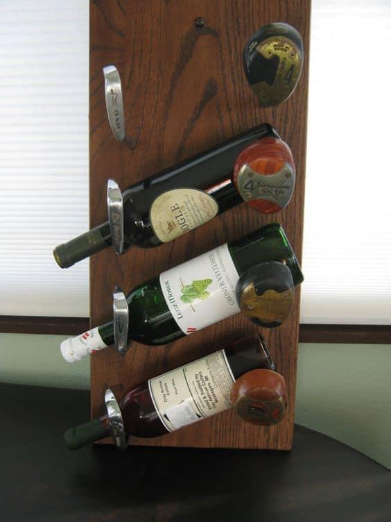Golf club head wine rack