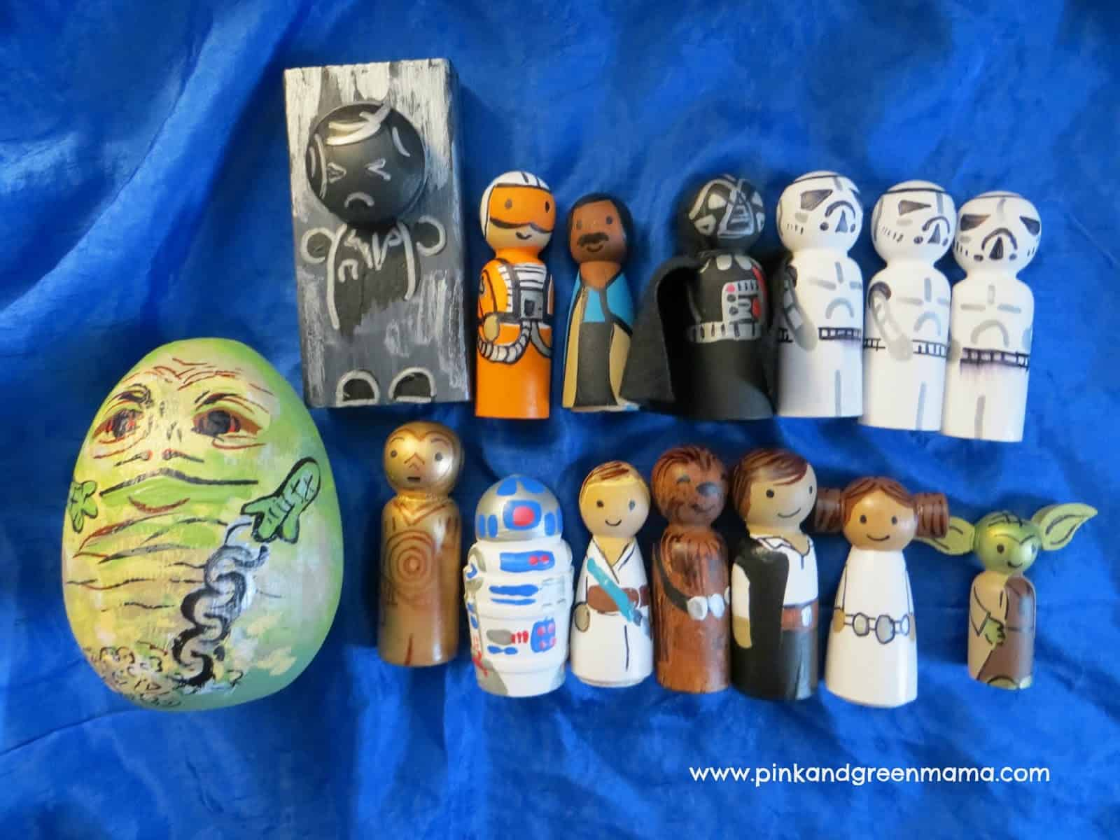 Hand painted star wars wooden peg dolls
