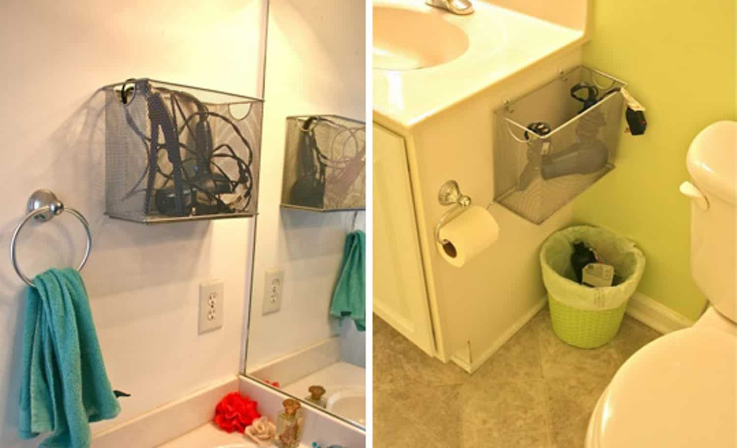 Hanging hair appliance baskets