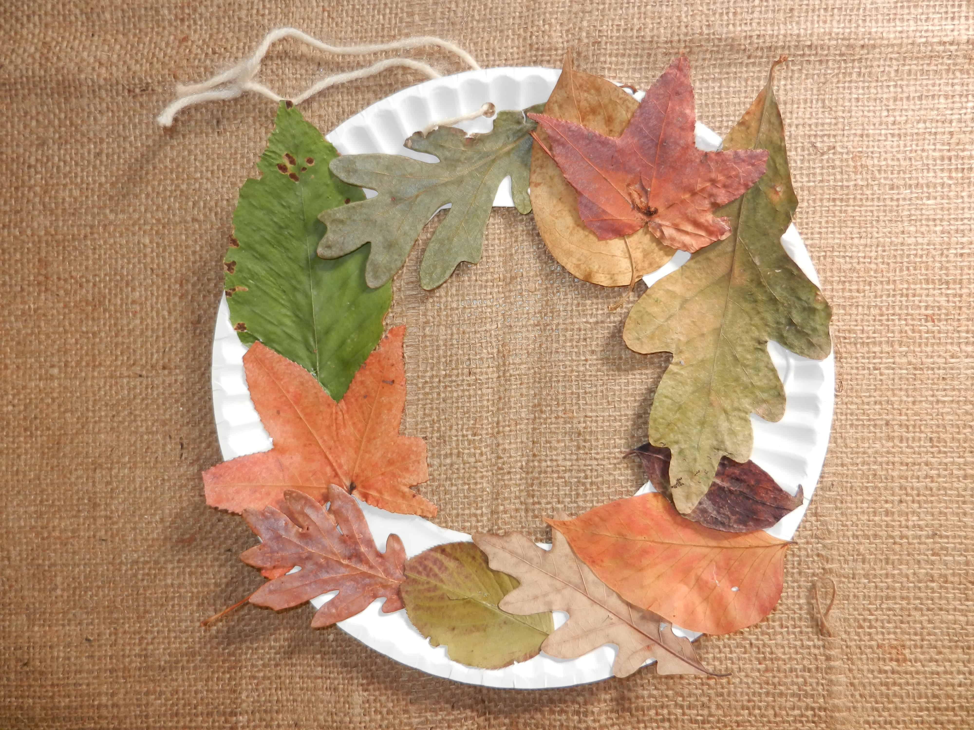 Hanging paper plate leaf mobile
