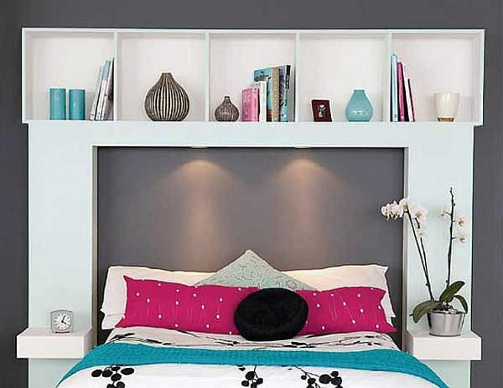 diy storage ideas for small apartments 17140 | headboards with shelving