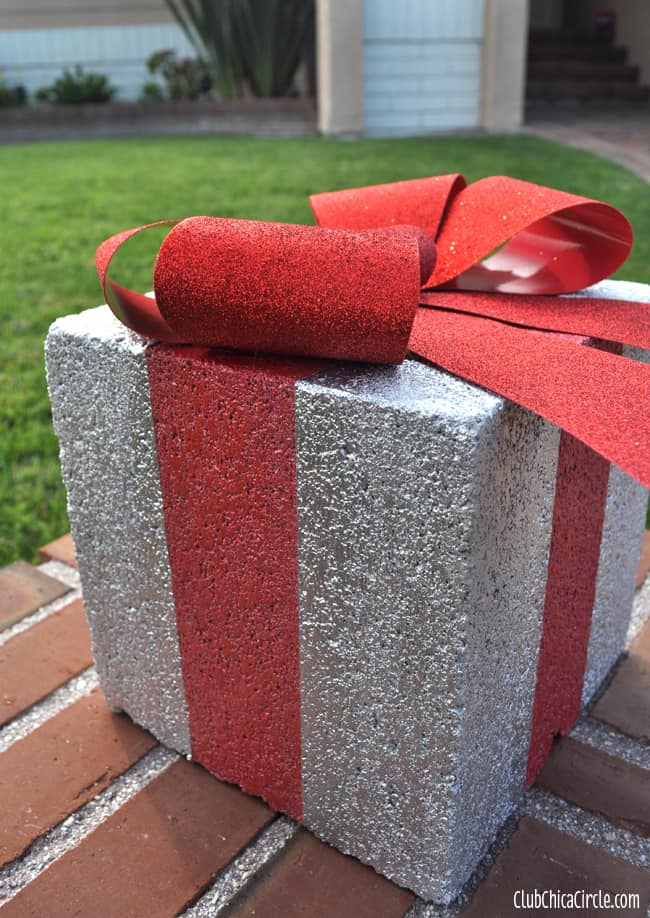 Holiday gift box concrete block craft idea