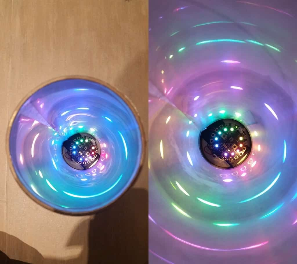 Holographic paper and led light kaleidoscope