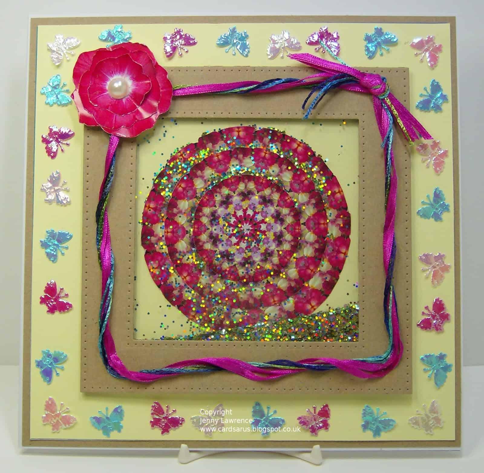 Kaleidoscope inspired glitter shaker card