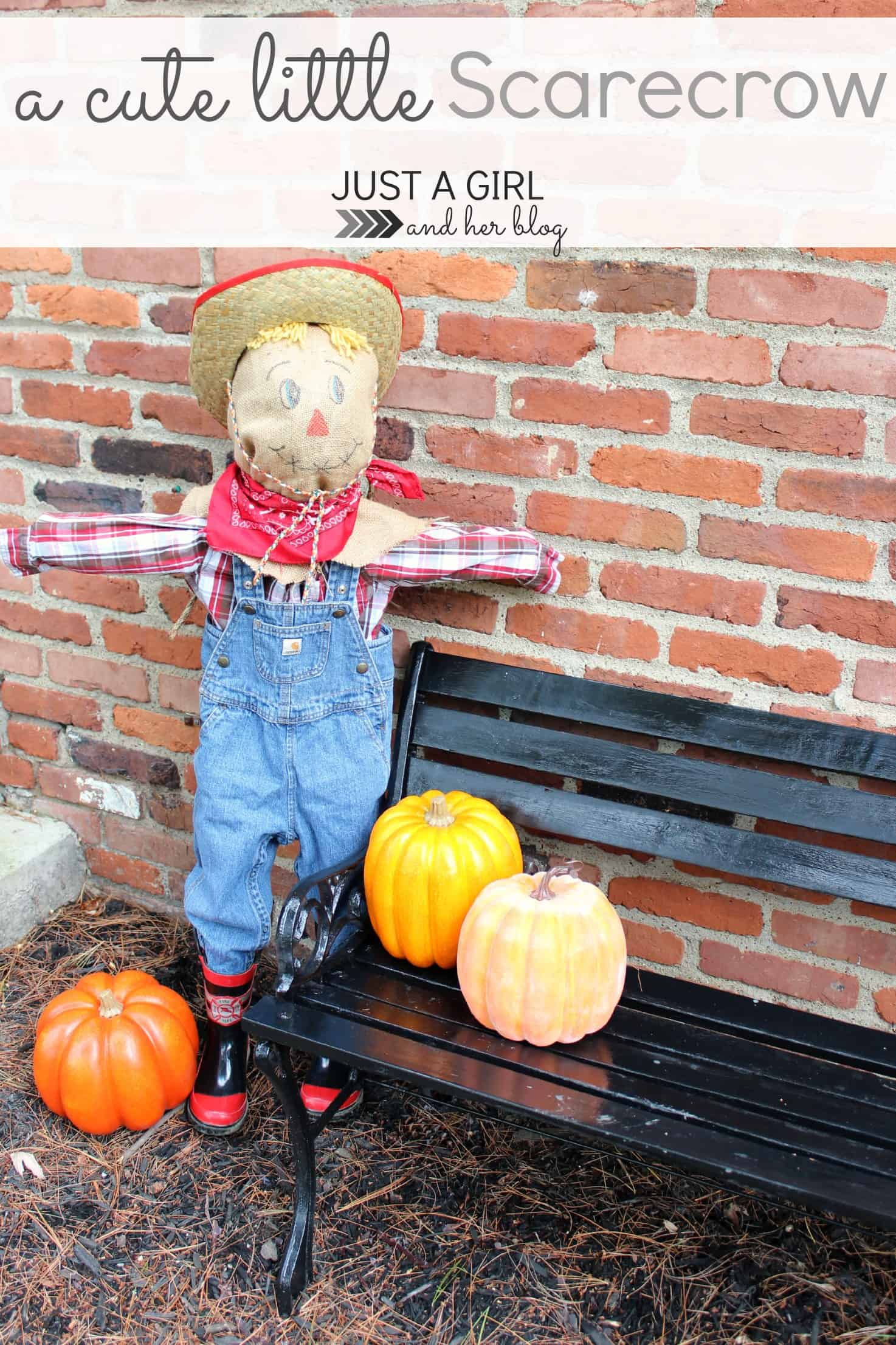 Kid scarecrow from hand me down clothes