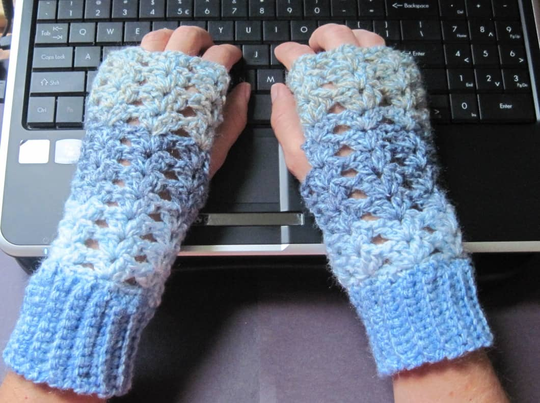 Lacy crochet fingerless gloves
