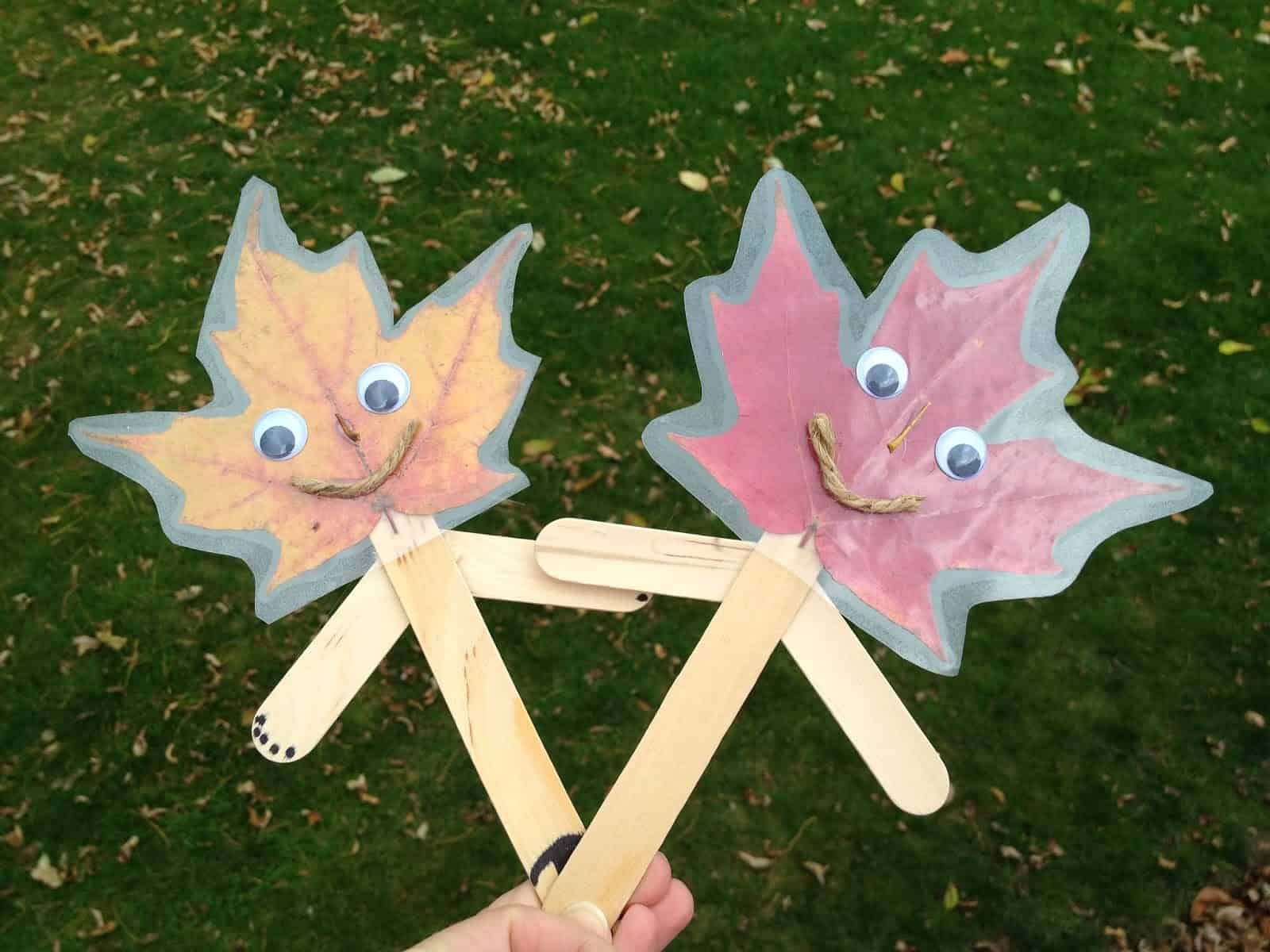 Laminated leaf popsicle stick puppets
