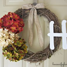 Letters, bows, and floral bunches
