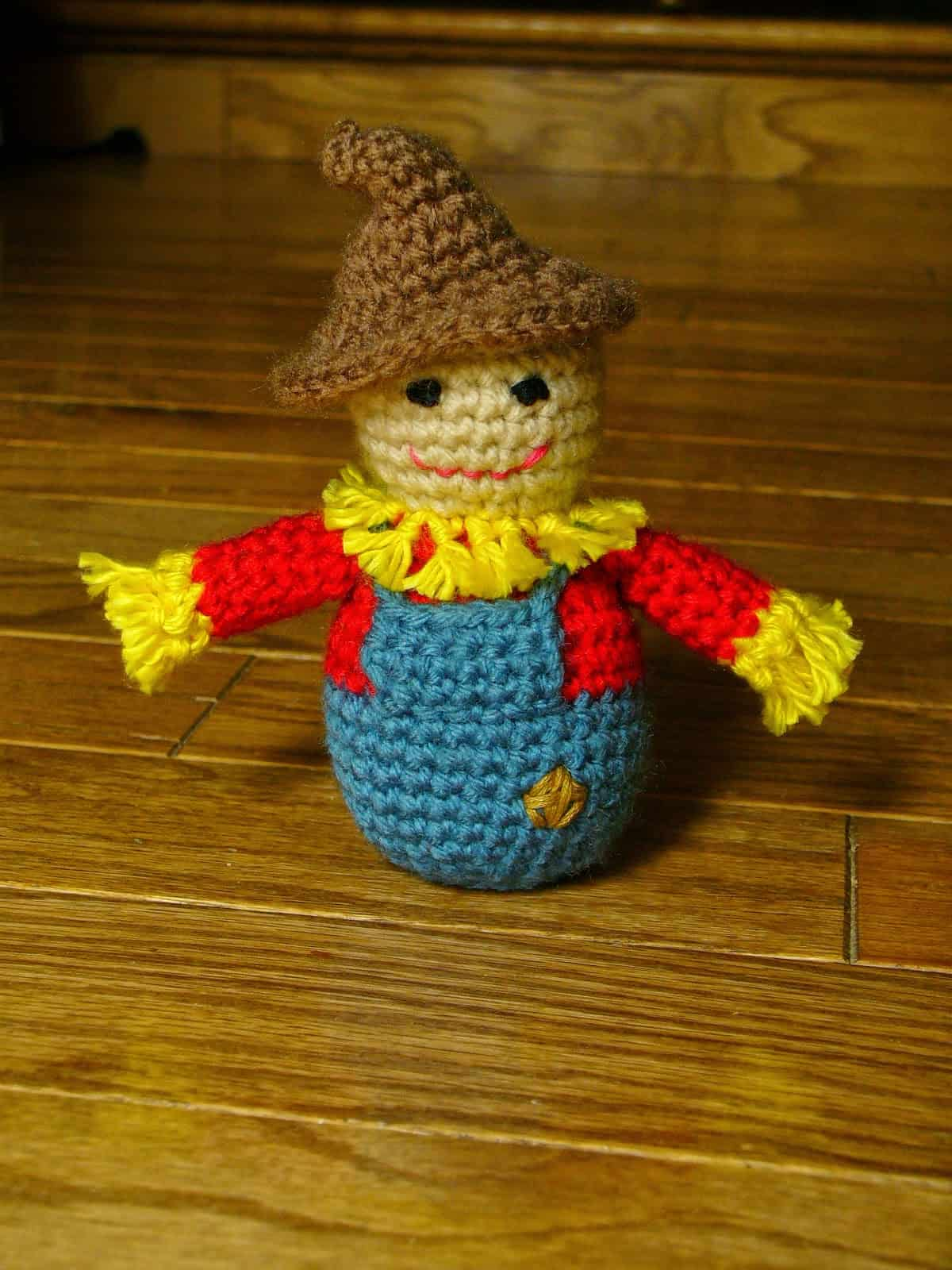 Little crocheted scarecrow