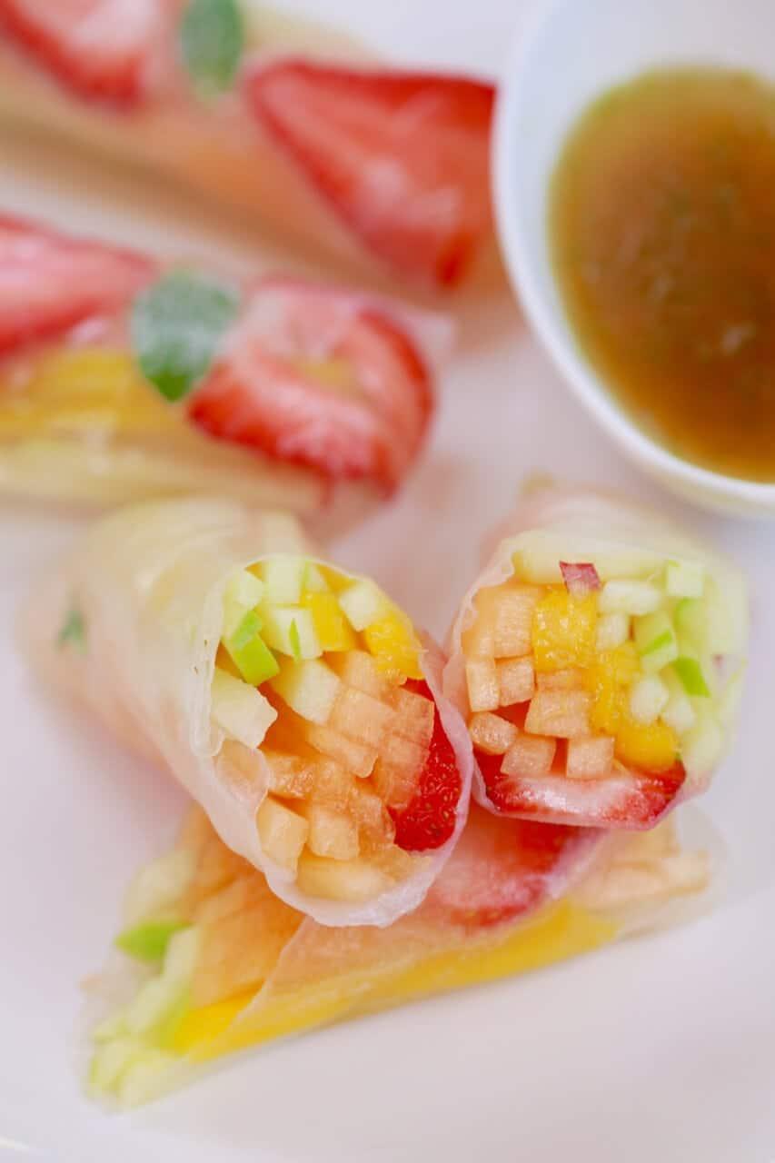 Mango strawberry summer rolls