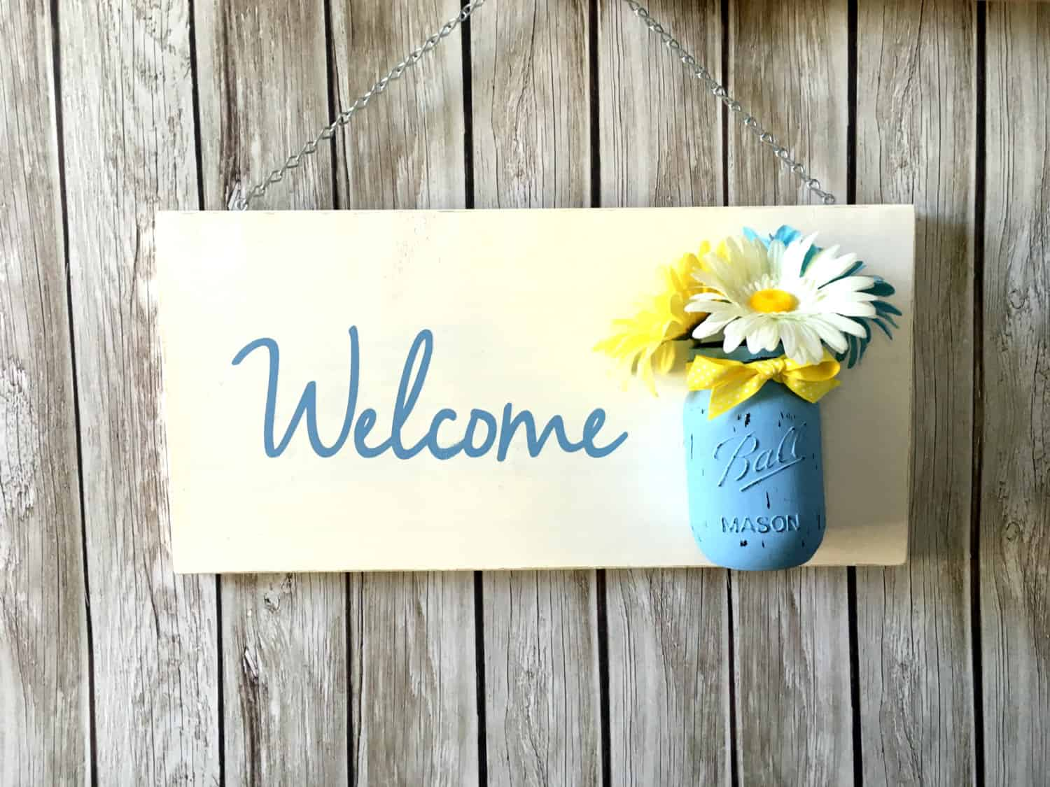 Mason jar planter flower sign