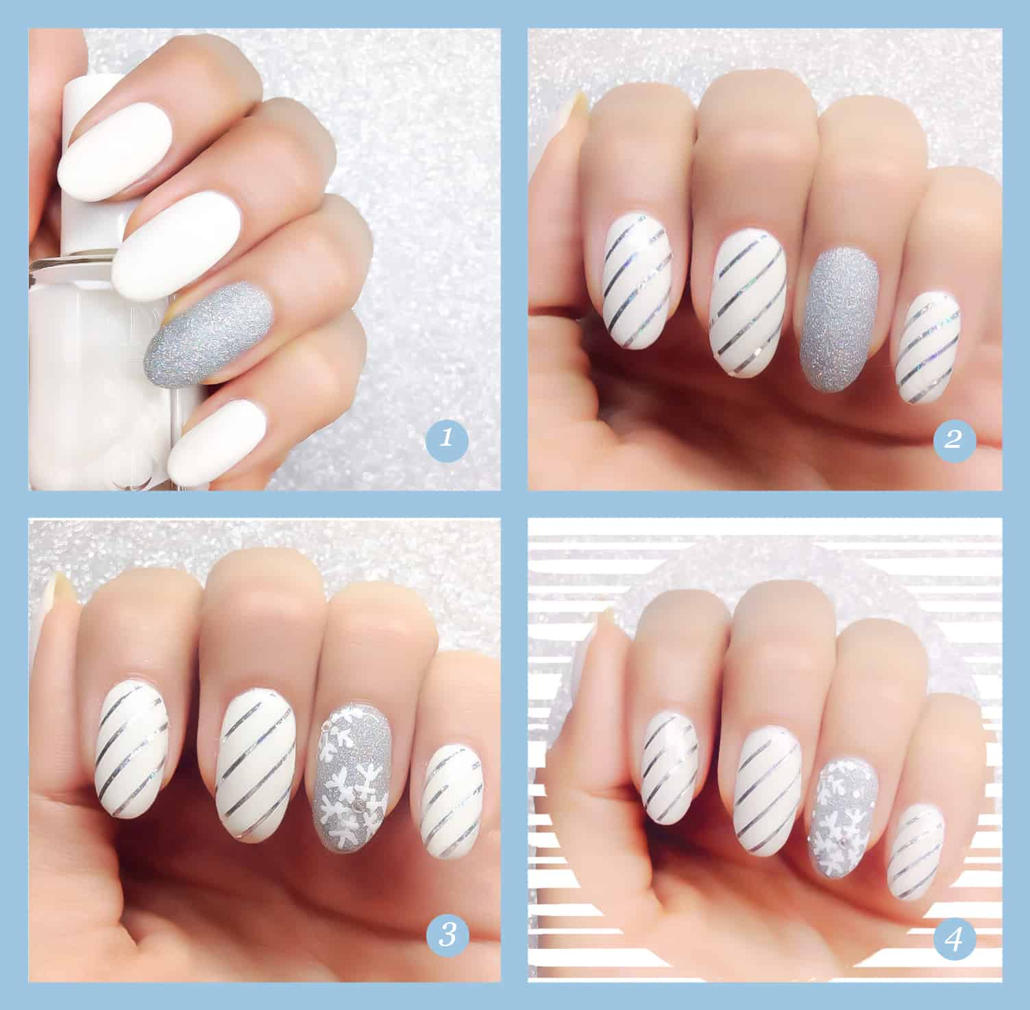Metallics stripes and snowflakes