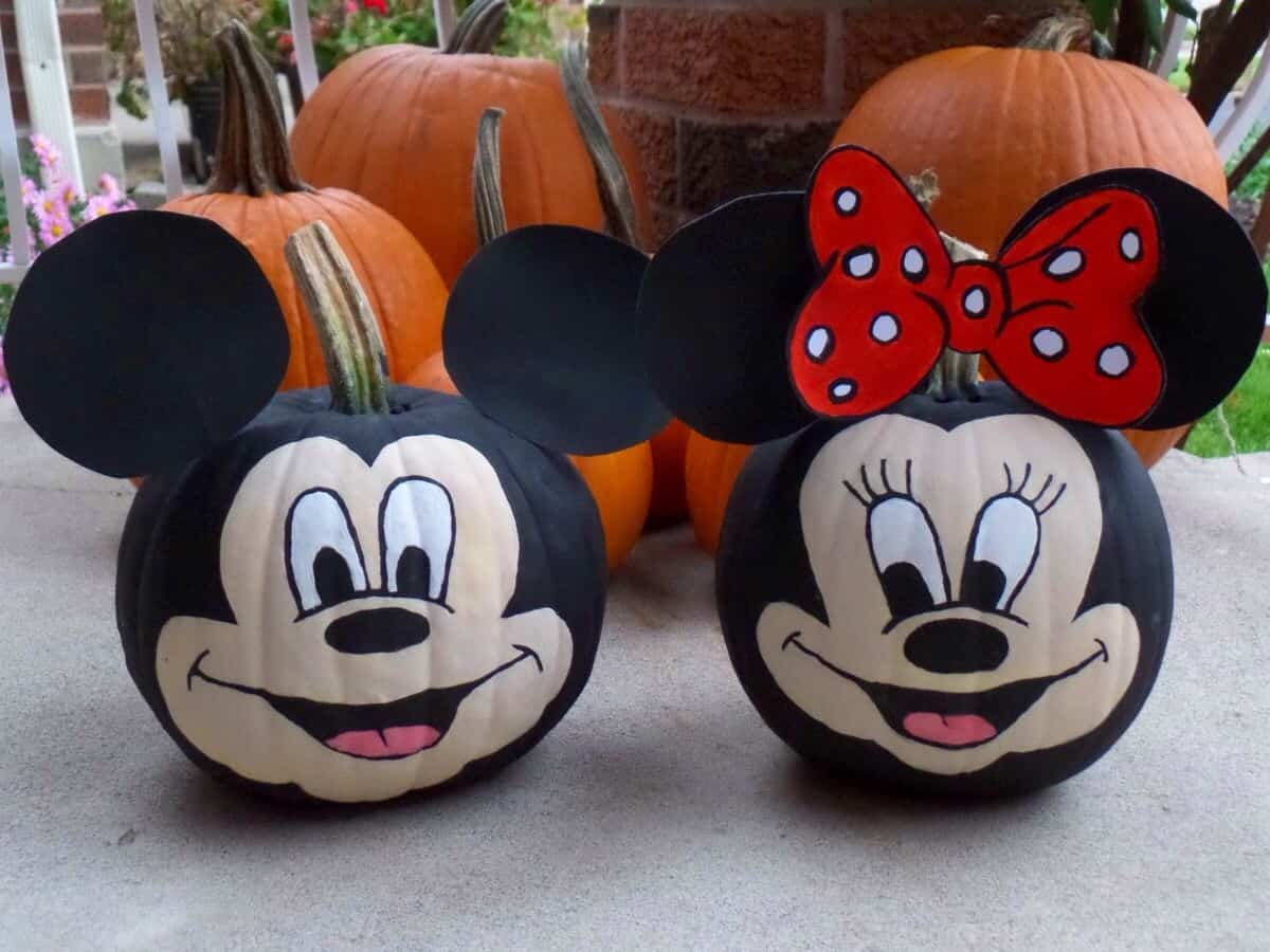 Disney Pumpkin Painting Ideas - Mickey and Minnie Mouse