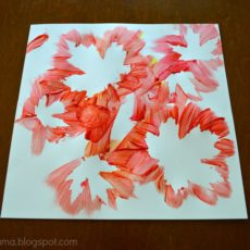 Negative space leaf paintings