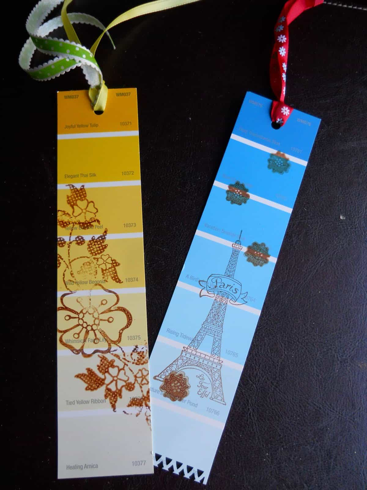 Pain smaple and stamp bookmarks