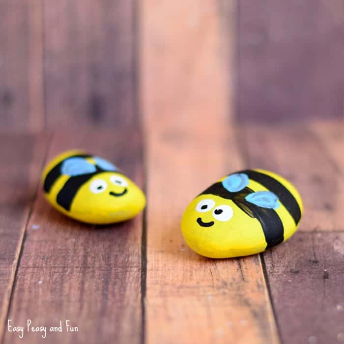 Painted rock bumblebees