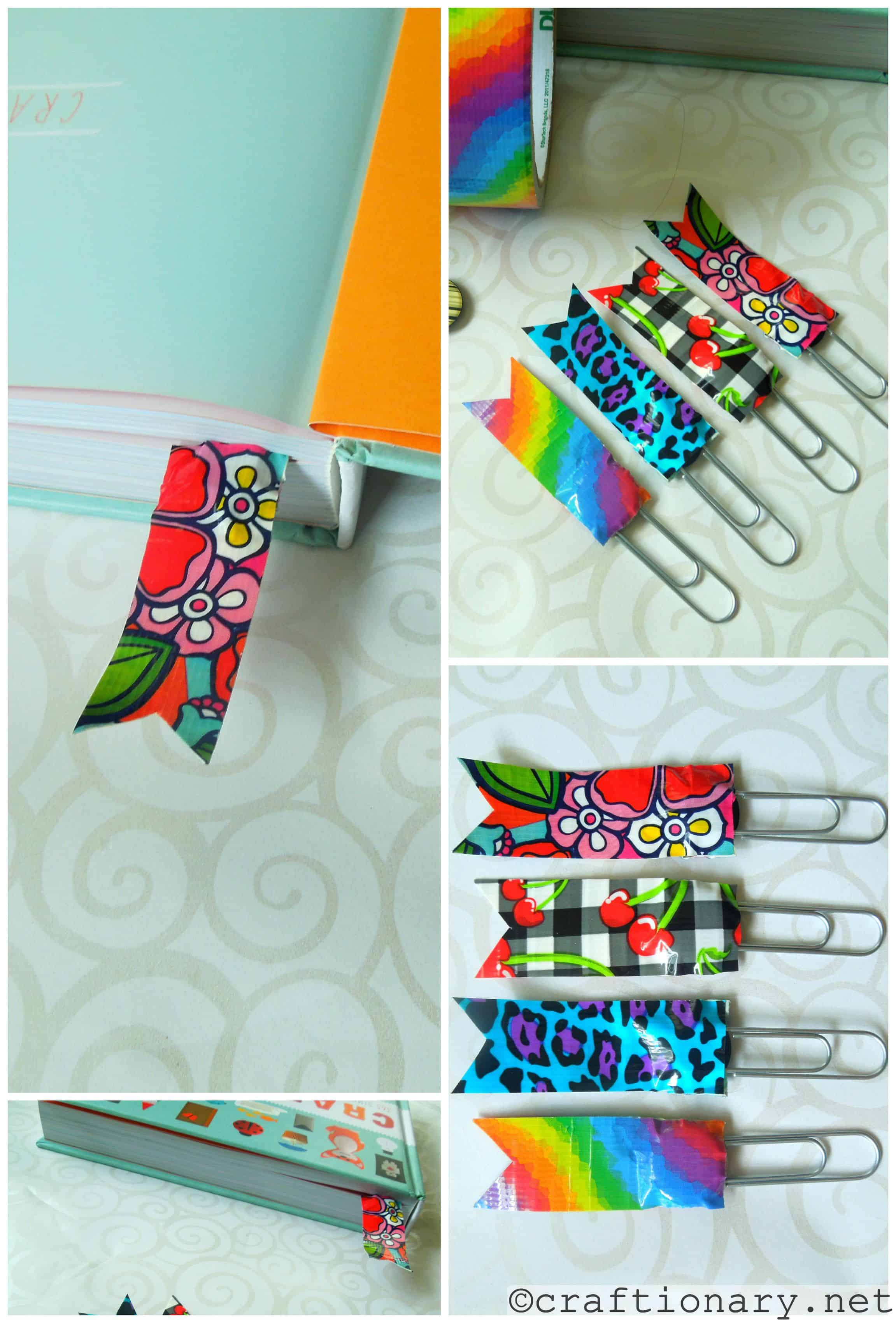 Patterned duct tape and paper clip bookmarks