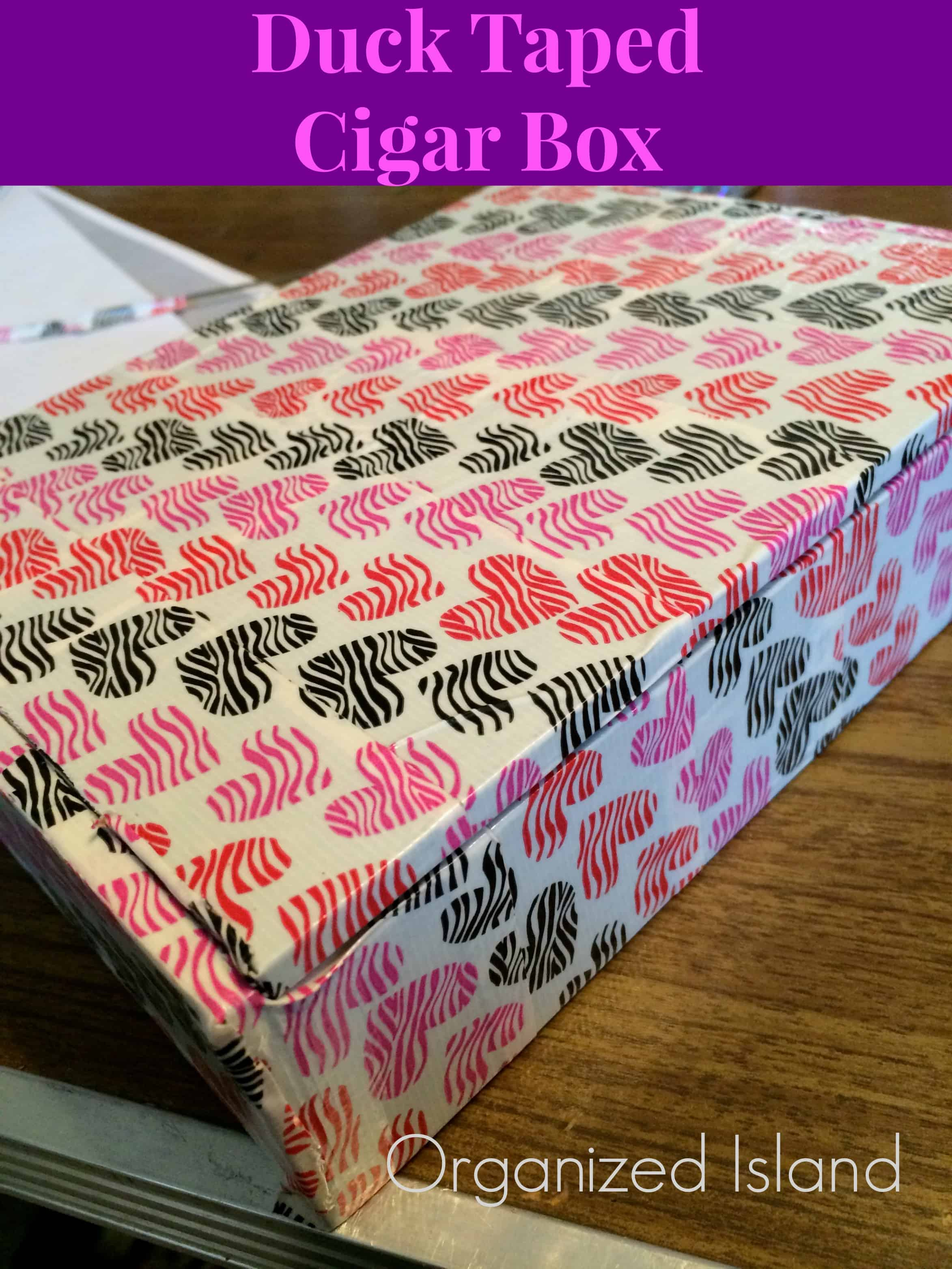 Patterned duct tape cigar box organizer