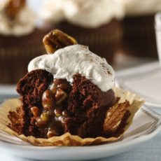 Pecan pie filled chocolate cupcakes