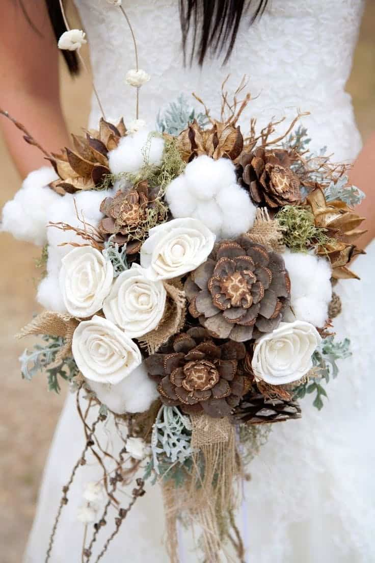 Pinecone cotton bouquet