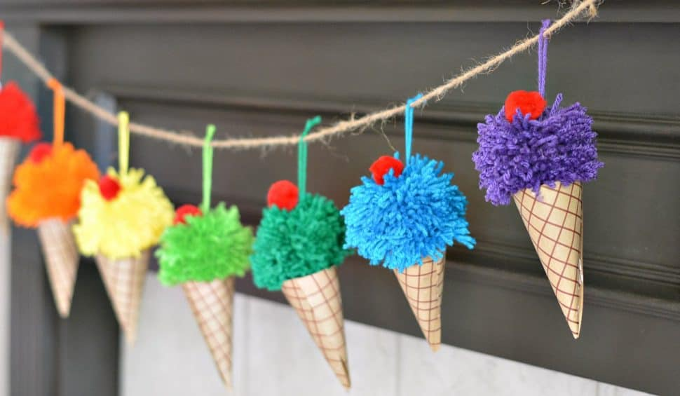 Pom pom and paper ice cream cone party bunting
