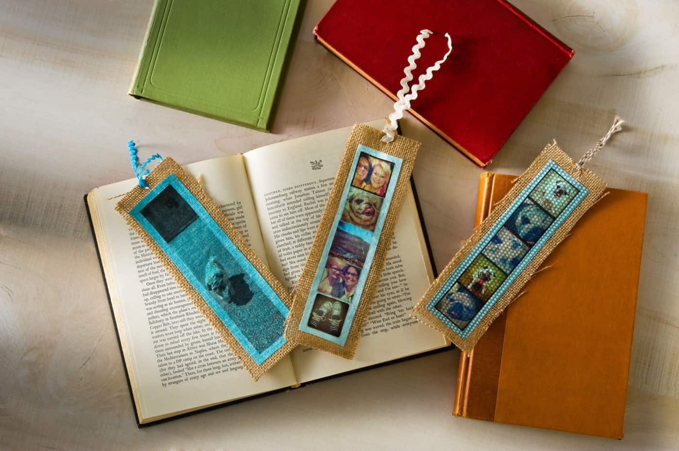 Printed photo and burlap bookmarks