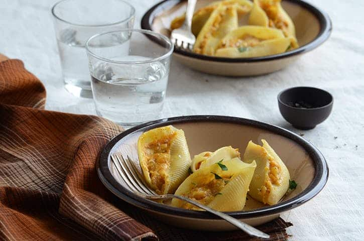 Pumpkin and cheese stuffed pasta shells