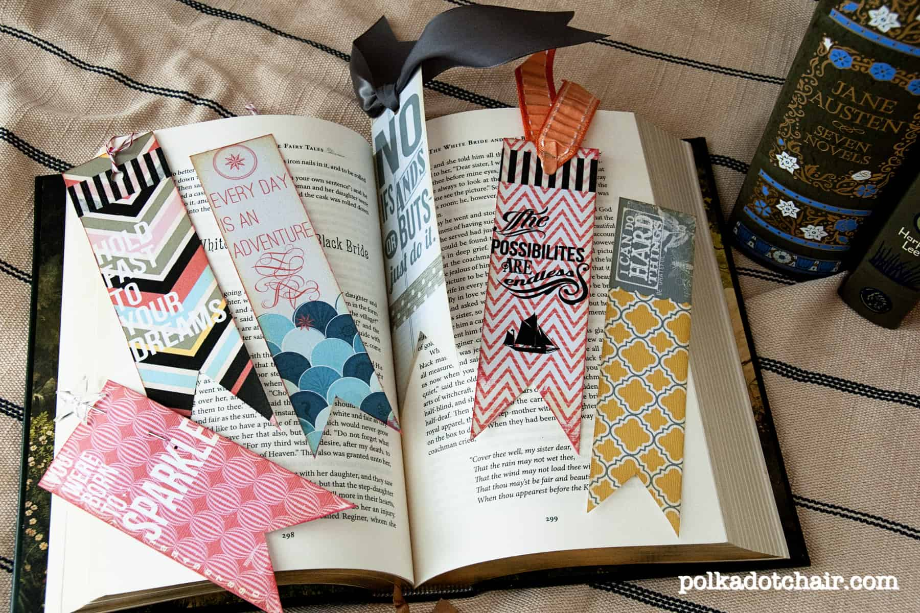 Qote stamped scrapbook paper bookmarks