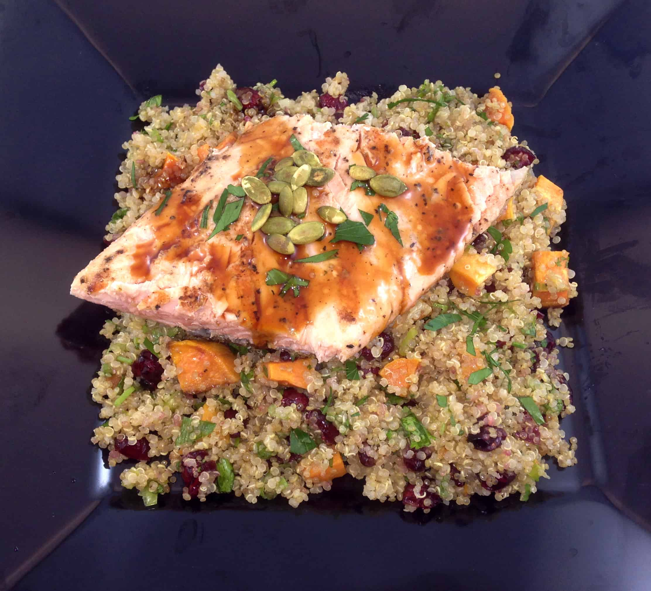 Quinoa sweet potato and cranberry stuffing