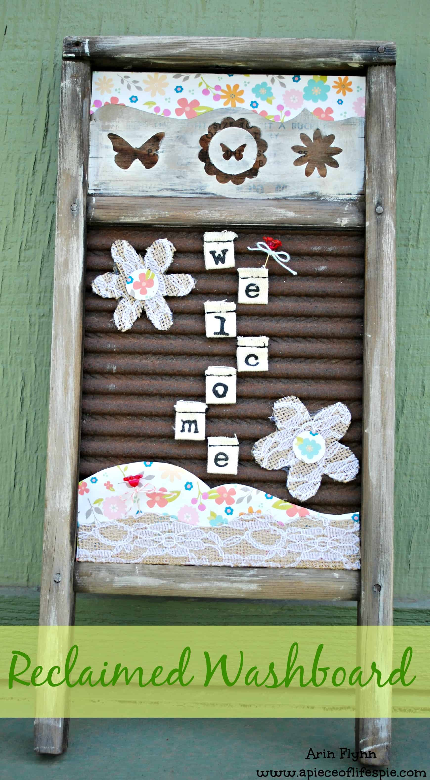 Reclaimed washboard welcome sign