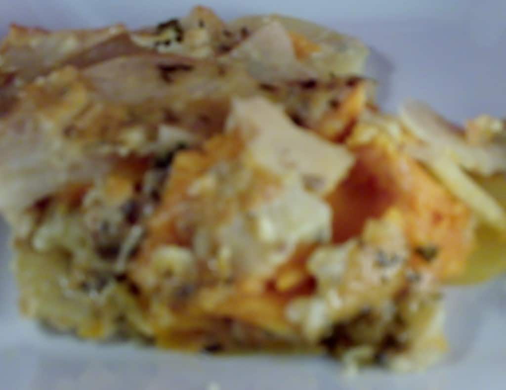 Root vegetable gratin with gruyere