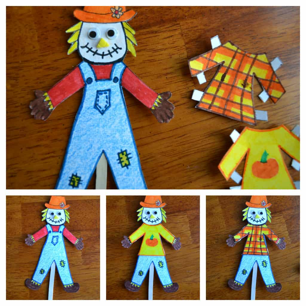 Scarecrow puppets with cut out paper outfits