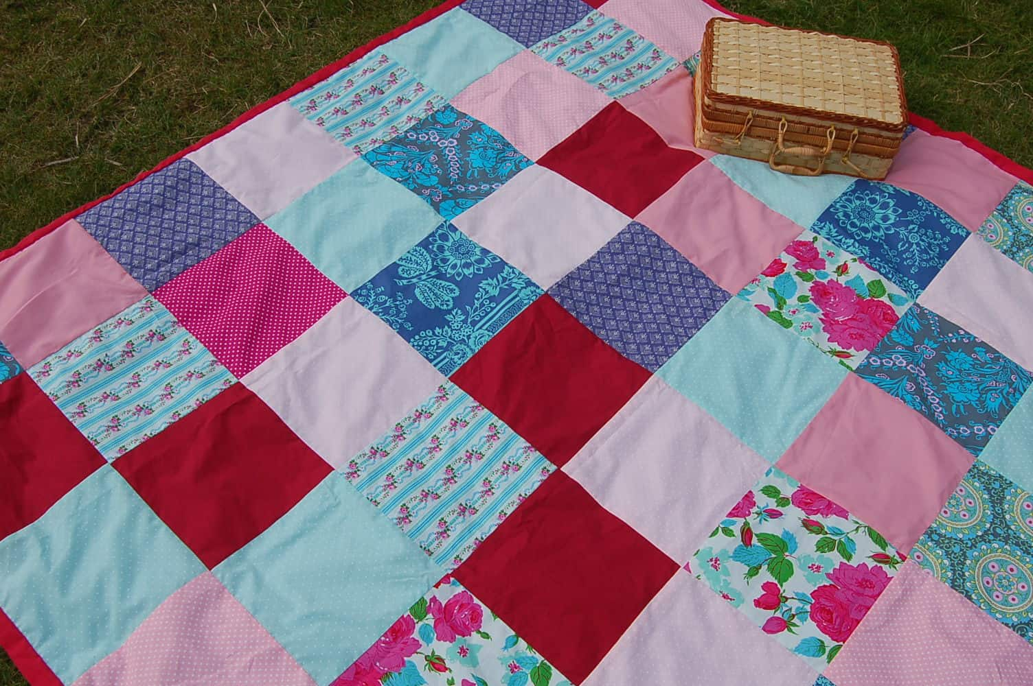 Scrap fabric patchwork picnic blanket