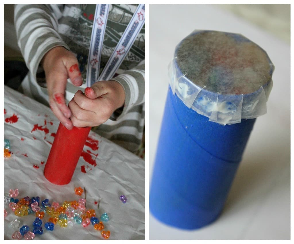 Scrap paper and beads kaleidoscope